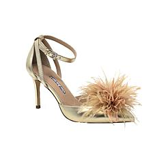 Charles David Violate Feathered Leather Ankle Strap Pump