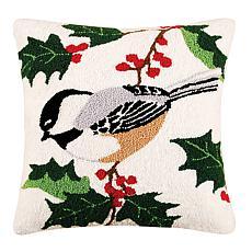 Chickadee Needlepoint Pillow