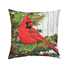 Christmas Bird Indoor Outdoor Pillow