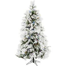 Christmas Time 6.5' Frosted Fir Artificial Tree w MultiColor LEDs