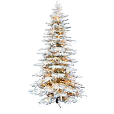 Christmas Time 6.5' Snowy Artificial Christmas Tree w Warm White LED's