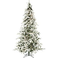 Christmas Time 7.5' Snowy Artificial Christmas Tree w Clear LED Lights