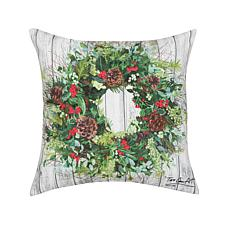 Christmas Wreath Indoor Outdoor Pillow