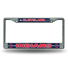 Chrome License Plate Frame w/Bling - Cleveland Indians