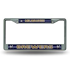 Chrome License Plate Frame w/Bling - Milwaukee Brewers