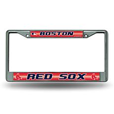 Chrome License Plate Frame with Bling - Boston Red Sox