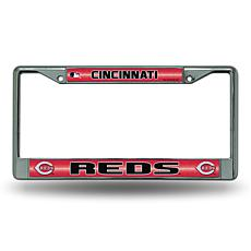 Chrome License Plate Frame with Bling - Cincinnati Reds