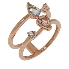 Cirari 14K Gold Aquamarine, Morganite and Diamond Double-Shank Ring