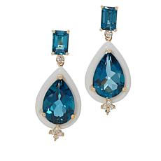 Cirari 14K Gold Blue Topaz, White Agate and Diamond Drop Earrings