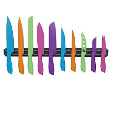 Classic Cuisine 10-piece Multi-Colored Knife Set with Magnetic Bar