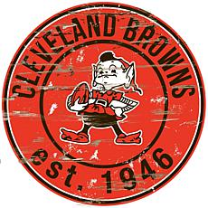 Cleveland Browns Round Distressed Sign