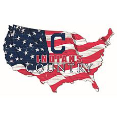 Cleveland Indians USA Shape Flag Cutout