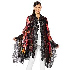 Clever Carriage Company Floral Print Handappliqued Lace Scarf