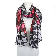 Clever Carriage Herringbone Rose Print Silk Scarf