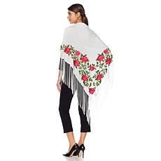 Clever Carriage Rose Embroidered Piano Silk Shawl