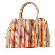 Clever Carriage St Tropez Woven Handcrafted Leather Satchel