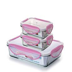 ClipFresh 6-piece Glass Rectangular Food Storage Container Set