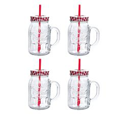 Coca-Cola Country Classic 4 Piece Lid and Straw Mason Jar