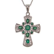 Colleen Lopez 1.23ctw Sakota Emerald and Zircon Cross Pendant w/Chain
