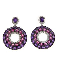 Colleen Lopez 12.50ctw Multigem Sterling Silver Doorknocker Earrings