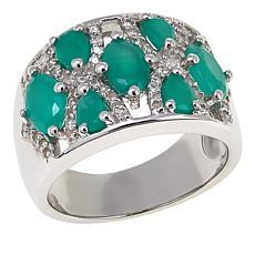Colleen Lopez 2.24ctw Sakota Emerald and White Zircon Band Ring