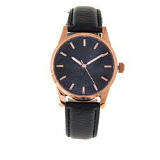 Colleen Lopez 2.97ctw Black Spinel Leather Strap Watch
