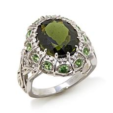 Colleen Lopez 4ctw Moldavite and Tsavorite Ring