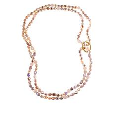 "Colleen Lopez 64"" Baroque Cultured Pearl and Gemstone Necklace"