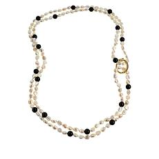 """Colleen Lopez 64"""" Baroque Cultured Pearl and Gemstone Necklace"""