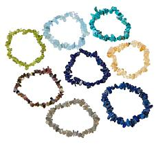 Colleen Lopez 8-piece Gemstone Chip Stretch Bracelet Set