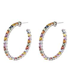 Colleen Lopez 8.4ctw Princess-Cut Multi Sapphire Hoop Earrings
