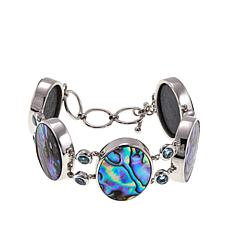 Colleen Lopez Abalone and Blue Topaz Sterling Silver Toggle Bracelet