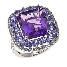 Colleen Lopez Amethyst, Tanzanite and White Topaz Sterling Silver Ring