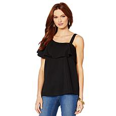 Colleen Lopez Asymmetric Off-Shoulder Flounce Top