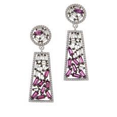 Colleen Lopez Baguette-Cut Rhodolite and White Topaz Drop Earrings