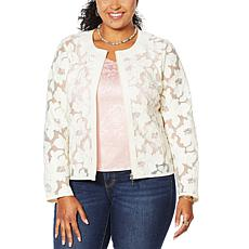 Colleen Lopez Best Dressed Faux Leather and Mesh Jacket