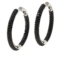 Colleen Lopez Black Spinel Inside-Outside Hoop Earrings