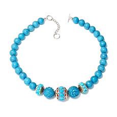 "Colleen Lopez Blue Howlite Bead Station 20"" Necklace"