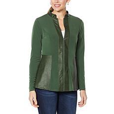 Colleen Lopez Coated Detail Zip-Front Jacket
