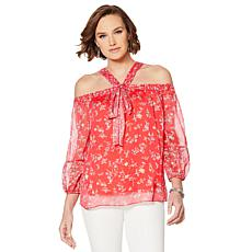 Colleen Lopez Cold-Shoulder Printed Halter Blouse