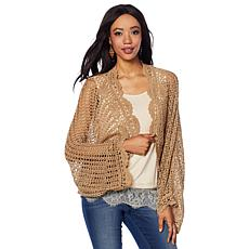 Colleen Lopez Crochet Cardigan with Metallic Threading