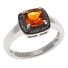 Colleen Lopez Cushion-Cut Gem and Diamond Sterling Silver Ring