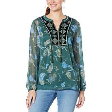 Colleen Lopez Embellished Velvet Bib Top with Cami