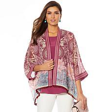 Colleen Lopez Embroidered Kimono Topper with Pompom Trim