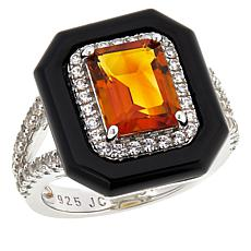 Colleen Lopez Emerald-Cut Gemstone, Onyx and White Zircon Ring