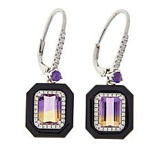 Colleen Lopez Emerald-Cut Gemstone, Onyx and White Zircon Earrings