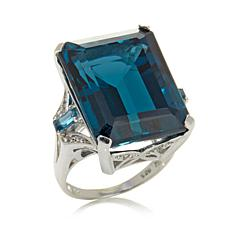 Colleen Lopez Emerald-Cut London Blue Topaz and White Topaz Ring
