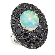 Colleen Lopez Ethiopian Opal and Black Spinel Sterling Silver Ring