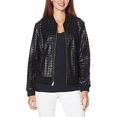 Colleen Lopez Faux Leather and Mesh Bomber Jacket