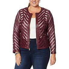 Colleen Lopez Faux Leather and Mesh Jacket